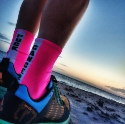 The North Sea and my Morvelo #FUCKCANCER socks
